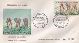 NIGER REPUBLIQUE CAMPAGNE ARACHIDIERE PREMIER JOUR EMISSION NIAMEY EN 1963 TIRAGE LIMITE A 3500 - Niger (1960-...)