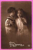 Fantaisie - Portraits De 2 Fillettes Aux Cheveux Bouclés - Marin - Robe En Dentelle - Gros Baisers - Edit. DIX 131 - Enfants