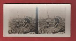 Vue Stéréoscopique Plateau D'Allemant Tourelle De Canon Détruite - 1914-18