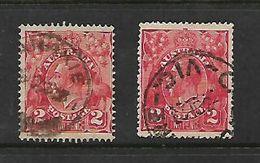Australia, GVR, Heads, 1922, 2d Bright Rose-scarlet, 2d Dull Rose-scarlet, C.d.s Used - 1913-36 George V: Heads