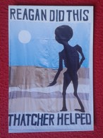 POSTAL POST CARD CARTE POSTALE MAGGIE MARGARET TATCHER POLITIC RONALD REAGAN DID THIS TATCHER HELPED ONU FOOD AID 1982 - Sátiras