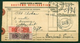 Z230 ITALIA REPUBBLICA 1951 Pacchi Postali 20 L. E 20 L. Su Talloncino Per Pacchi USA Custom Declaration Da Fairflield - 6. 1946-.. Repubblica