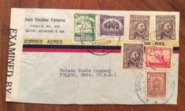 ECUADOR   U.S.A.   FROM  QUITO   TO TOLEDO OHIO   THE 15/10/42  CENSURATA - Ecuador