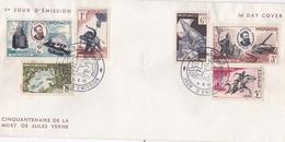 MONACO FDC CINQUANTENAIRE DE LA MORT DE JULES VERNE 1ER JOUR EMISSION 7.6.1955 SIX TIMBRES - FDC