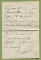 LE BARON DE MACKAU - Député D'Argentan  ORNE (1832-1918) - Autographs