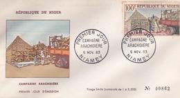 AFRIQUE REPUBLIQUE DU NIGER CAMPAGNE ARACHIDIERE PREMIER JOUR EMISSION NIAMEY NOVEMBRE 1963 TIRAGE LIMITE A 3500 - Niger (1960-...)
