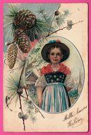 Fantaisie Gaufrée - Fillette - Folklore - Branche De Sapin Avec Pommes De Pin - Embossed - 1905 - Autres