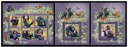 Sierra Leone 2015 Fauna Monkeys Chimpanzees Klb + 2 S/s MNH - Chimpanzés