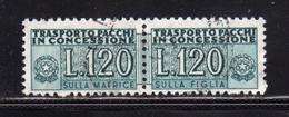 ITALIA REPUBBLICA ITALY REPUBLIC 1955 1981 PACCHI IN CONCESSIONE PARCEL POST STELLE STARS 1958 LIRE 120 USATO USED OBLIT - 1946-.. Republiek