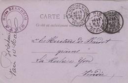 Yvert 89 CP2 Sage Entier Entête Moïse Bernheim Cachet PARIS DEPART 15/5/1889 à La Roche Sur Yon Vendée - Biglietto Postale