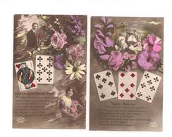 2 CPA CARTES A JOUER   LANGAGE -- EKP 1420 - - Cartes à Jouer