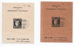 1938 - 2 BLOCS De L'EXPOSITION DE PROPAGANDE PHILATELIQUE / FOIRE DE LYON 1938 - REIMPRESSION DU  N° 3 - 1849-1850 Cérès