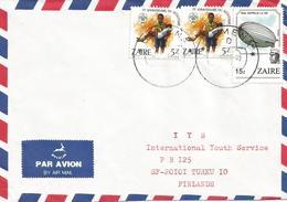 Zaire DRC Congo 1985 Gemena Code Letter D Scouting Zeppelin Cover - 1980-89: Oblitérés