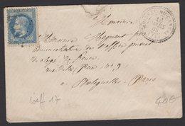 CANTAL: Pli Avec 20c Empire Lauré Oblt GC 4841 + CàD Type 22  MOISSAC DU CANTAL (14)  > PARIS - 1849-1876: Période Classique