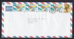 New Zealand: Airmail Cover To Netherlands, 1989, 5 Stamps, Bird, Surfing, Sports (minor Crease) - Nieuw-Zeeland
