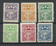 LETTLAND Latvia 1921/22 Michel 77- 81 & 84 MNH - Lettonie