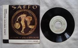 Saffo Liriche D'amore Brignone Collana Letteraria Cetra Disco Vinile 33 Giri '60 - Altri