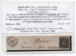 10 JANVIER 1849 - TYPE 15 De NEUFCHATEL EN BRAY (SEINE MARITIME) Avec GRILLE Sur N° 3 (INDICE 25) Sur FRAGMENT - Postmark Collection (Covers)