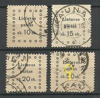 LITAUEN Lithuania 1919 Michel 20 - 22 & 25 O Incl ERROR Variety - Litauen