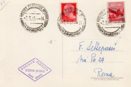 CARTOLINA 1° MOSTRA FILATELICA INTERNAZIONALE SANREMO - 7.5.1946 - 1946-60: Storia Postale