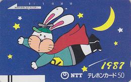 TC Ancienne Japon / NTT 250-081 - ZODIAQUE 1987 LAPIN TBE - RABBIT HOROSCOPE Japan Front Bar Phonecard - Lapins
