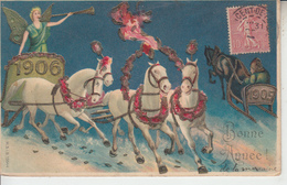 Bonne Année 1906 - Chevaux Ange ( Gaufrée Embossed ) - New Year