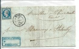 Lettre Avec Classique De France / Napoléon N°10 , Maurs / Cantal , Cote 80euro - 1852 Louis-Napoléon