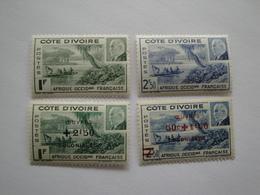 1941/4 Côte D'Ivoire Yv 169/0 * MH 175/6 ** MNH Bateaux Ships  Cote 3.20 € Michel 184/5 - 202/3 - Côte-d'Ivoire (1892-1944)
