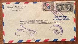 POSTA AEREA PAR AVION  HONDURAS  U.S.A.   FROM  SAN PEDRO SULA   TO NEWARK  THE  10/8/1950 - Honduras