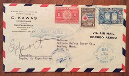 POSTA AEREA PAR AVION  HONDURAS  U.S.A.   FROM  SAN PEDRO SULA   TO BOSTON   THE  18/5/47 - Honduras