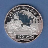Nordkorea 1997 Silbermünze 100 Won 99 Jahre Hongkong  7g Ag999 PP - Monnaies