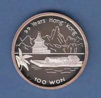 Nordkorea 1996 Silbermünze 100 Won 99 Jahre Hongkong Pagode  7g Ag999 PP - Monnaies
