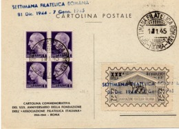 CARTOLINA SETTIMANA FILATELICA ROMANA - 1.1.1945 - 5. 1944-46 Lieutenance & Umberto II