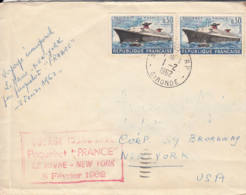 FRANCE - 1962 - Voyage Inaugural Du Paquebot FRANCE Le Havre - New York - 2 Scans - France
