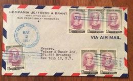 POSTA AEREA  PAR AVION  HONDURAS  U.S.A  FROM SAN PEDRO SULA   TO NEW YORK   THE  2/3/57 - Honduras