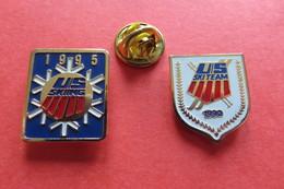 2 Pin's,Sport,Ski,US SKI-TEAM, 1995,1990 - Sports D'hiver