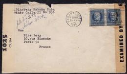 2ème Guerre Mondiale - Lettre De Cuba De 1945 Censurée Pour Paris - Huelga