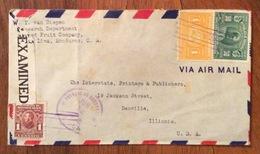 POSTA AEREA  PAR AVION  HONDURAS  U.S.A  FROM  LA LIMA   TO  DANVILLE    THE   12/6/42   CENSURATA - Honduras