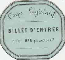 Carton D'entrée Au Corps Législatif (sans Affectation.) - Cartes