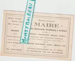 """Vieux Papiers: Carte De  Visite : PARIS ST DENIS """" Restaurant  Maire """"  ( Jazz, Orchestre, ...) - Cartes De Visite"""