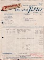 FACTURE TOBLERONE CHOCOLAT TOBLER à TALENCE  Pour Mr GRESSENT EPICERIE à AUFFAY - Alimentare