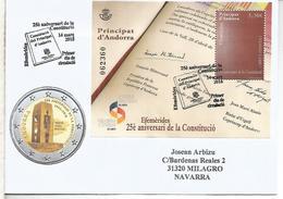 ANDORRA 25 ANIVERSARIO DE LA CONSTITUCION MAT PRIMER DIA - Andorra Española
