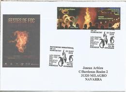 ANDORRA FDC PRIMER DIA FESTES DE FOC FIESTA DEL FUEGO FIRE FEST - Andorra Española