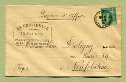 """NANCY  (54) : Type SAGE N° 75  (Tarif PAPIERS D'AFFAIRES """"  (1884) - Marcophilie (Lettres)"""