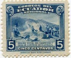 Lote EC93, Ecuador, 1945, Sello, Stamp, Seguro Social Campesino, Farmer Insurance, Dog - Ecuador