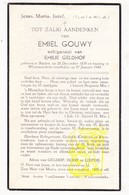 DP Emiel Gouwy ° Staden 1876 † Westrozebeke 1940 X Emilie Geldhof - Devotion Images