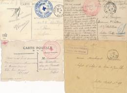 HOPITAUX MILITAIRES LYON RHONE - 4 LETTRES ET C P- Joli Lot - Poststempel (Briefe)