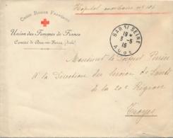 """Lettre à En-tête """" COMITÉ DE BAR SUR SEINE ( AUBE ) - CROIX-ROUGE - Union Des Femmes De France - Hopital Auxiliaire N°10 - Red Cross"""