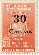 Lote EC95, Ecuador, 1943, Sello, Stamp, Timbre Patriotica, Defensa Nacional, Overprint - Equateur