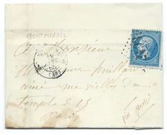 N° 22 BLEU NAPOLEON SUR LETTRE / MONTMIRAIL SUR MARNE POUR PARIS 1865 / AVEC CORRESPONDANCE - Marcofilie (Brieven)